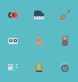 flat icons retro disc acoustic knob and other vector image vector image