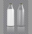 glass traditional bottles mockup empty and with vector image vector image