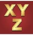 Gold letters alphabet font style X Y Z vector image vector image