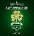 green card for patricks day with big golden vector image vector image