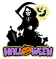grim reaper with halloween sign vector image vector image