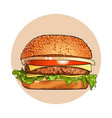 hamburger fast food classic cheeseburger vector image
