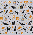 hand drawn seamless pattern for halloween with vector image vector image