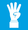 hand showing number four icon white vector image vector image