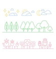 Handdrawn Trees and Flowers in Linear Style vector image