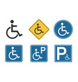 handicap icons set wheelchair and disability vector image vector image