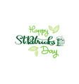 happy st patricks day badge hand drawn irish vector image