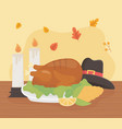 happy thanksgiving roasted turkey hat corn lemon vector image vector image