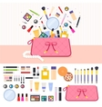 Make up bag full of cosmetics vector image vector image