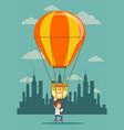 man climb a ladder to a air balloon vector image