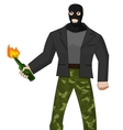 Man in mask with molotov cocktail vector image