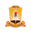 marathon runner run race shield vector image vector image