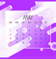 may 2019 calendar leaf vector image vector image