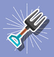 metallic fork gardening tool cartoon style image vector image