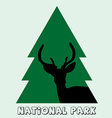 National park icon with deer stag and fir vector image vector image