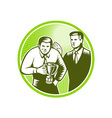 Officer Worker Winning Trophy Woodcut vector image vector image