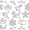 origami seamless pattern with flat line icons vector image