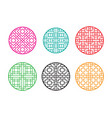 round chinese pattern window frame vector image vector image