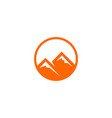 round-orange-simple-mountain-logo vector image vector image