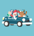 santa claus drive a car full of christmas gift vector image vector image