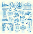 set of doodle theatre elements vector image