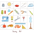 Sewing tools kit icons vector image