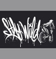 stay wild motocross print design for apparel vector image vector image