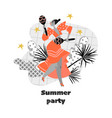 summer party banner with funny dancing girl vector image