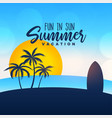 summer vacation poster design background vector image vector image