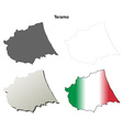 Teramo blank detailed outline map set vector image vector image