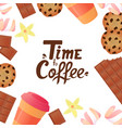 time to coffee hand lettering cup of coffee a vector image