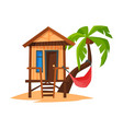 tropical beach bungalow on coast sea or ocean vector image vector image