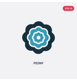 Two color peony icon from nature concept isolated
