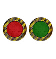 Vekton dirty old rusty red and green round button vector image vector image