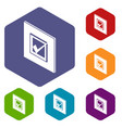 voted sign icons hexahedron vector image