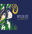 wildlife day jungle card with monkeys vector image vector image