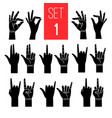 woman hands gestures black icons vector image