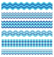 Set of sea waves borders isolated on white vector image