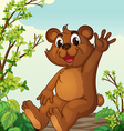 A bear sitting on a wood vector image vector image