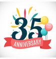 anniversary 35 years template with ribbon vector image vector image