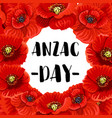 anzac day war memorial day red poppy poster vector image vector image