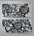ba hand drawn doodle banners design vector image
