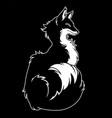 black silhouette of a fluffy fox in profile vector image vector image