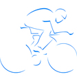 Blue silhouette cyclist vector image