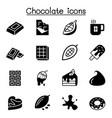 cacao chocolate cocoa icon set graphic design vector image