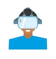 character young man virtual reality glasses vector image