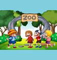 children in zoo scene vector image vector image