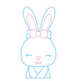 color line adorable and shy rabbit female wild vector image vector image