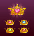 cool princess crowns set vector image vector image