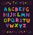 Cute funny childish alphabet on dark